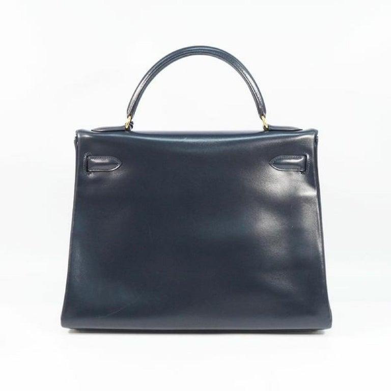 Black HERMES inside seam Kelly32 Womens handbag Navy x gold hardware For Sale