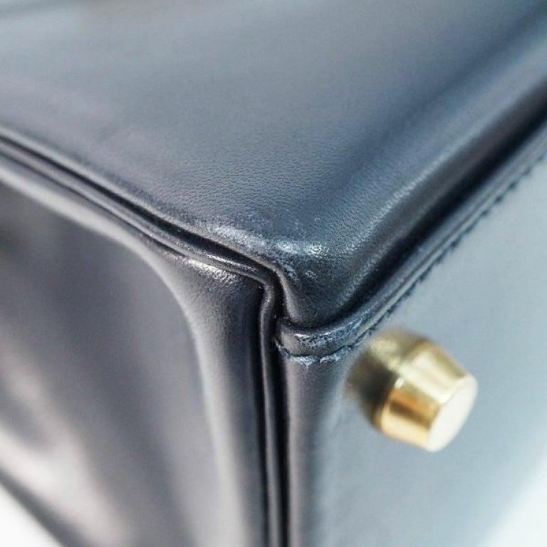 Women's HERMES inside seam Kelly32 Womens handbag Navy x gold hardware For Sale