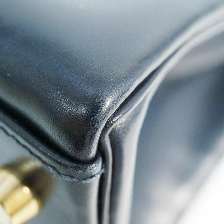 HERMES inside seam Kelly32 Womens handbag Navy x gold hardware For Sale 1