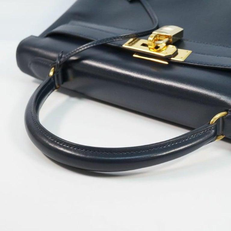 HERMES inside seam Kelly32 Womens handbag Navy x gold hardware For Sale 2