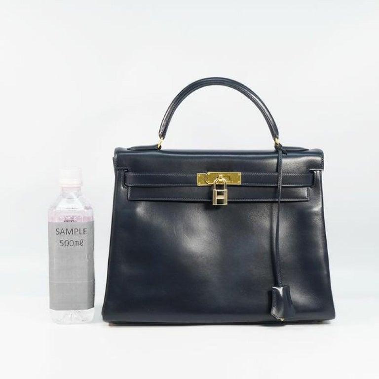 HERMES inside seam Kelly32 Womens handbag Navy x gold hardware For Sale 4