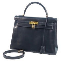 HERMES inside seam Kelly32 Womens handbag Navy x gold hardware