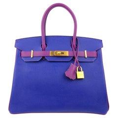 Hermès Intense Blue and Purple Epsom 30 cm Horseshoe Birkin