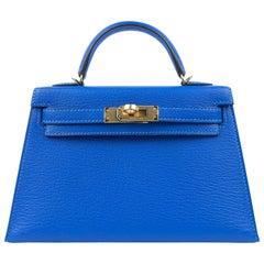 Hermès Intense Blue Chevre 20 cm Mini Kelly