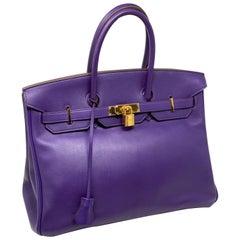 Hermes Iris Purple Birkin 35 Bag