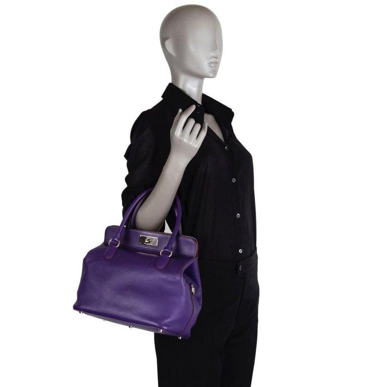 HERMES Iris purple Swift leather TOOLBOX 26 Shoulder Bag For Sale 5
