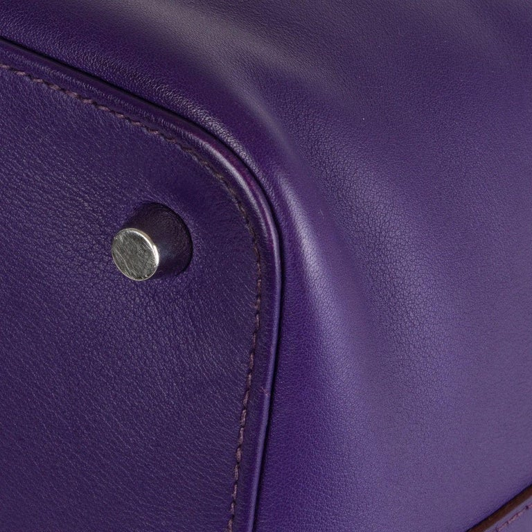 HERMES Iris purple Swift leather TOOLBOX 26 Shoulder Bag For Sale 6