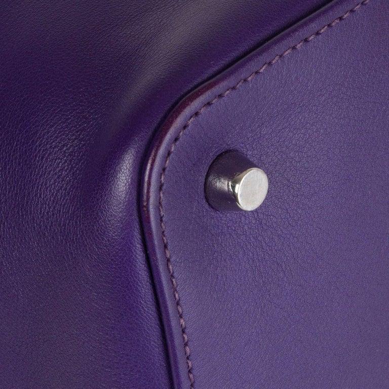 HERMES Iris purple Swift leather TOOLBOX 26 Shoulder Bag For Sale 7