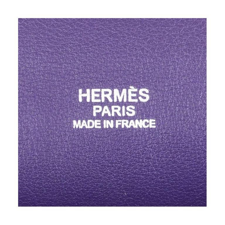 HERMES Iris purple Swift leather TOOLBOX 26 Shoulder Bag For Sale 9