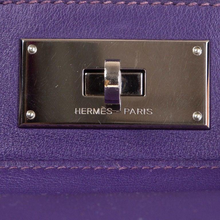 HERMES Iris purple Swift leather TOOLBOX 26 Shoulder Bag For Sale 2