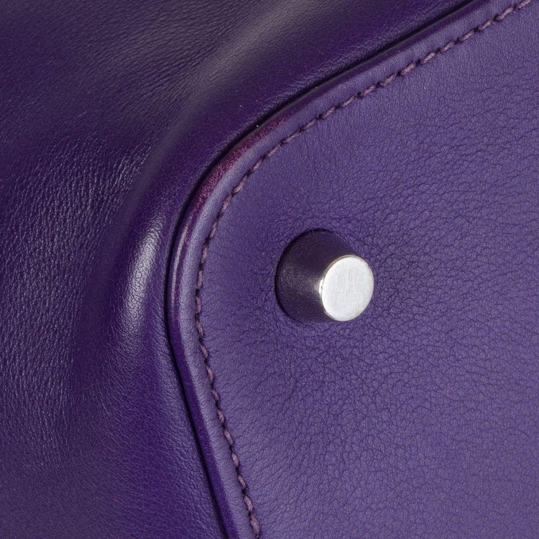 HERMES Iris purple Swift leather TOOLBOX 26 Shoulder Bag For Sale 3