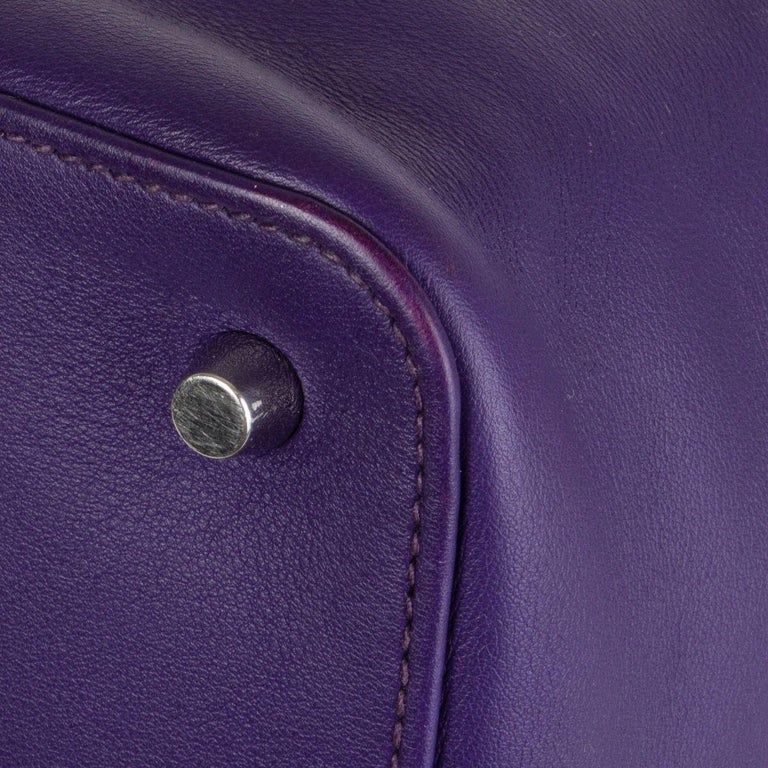 HERMES Iris purple Swift leather TOOLBOX 26 Shoulder Bag For Sale 4