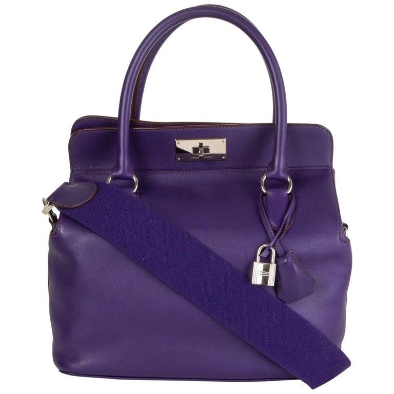 HERMES Iris purple Swift leather TOOLBOX 26 Shoulder Bag For Sale