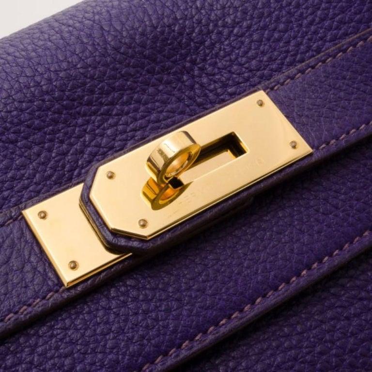 Hermes Iris Togo Leather Gold Hardware Kelly Retourne 40 Bag For Sale 6