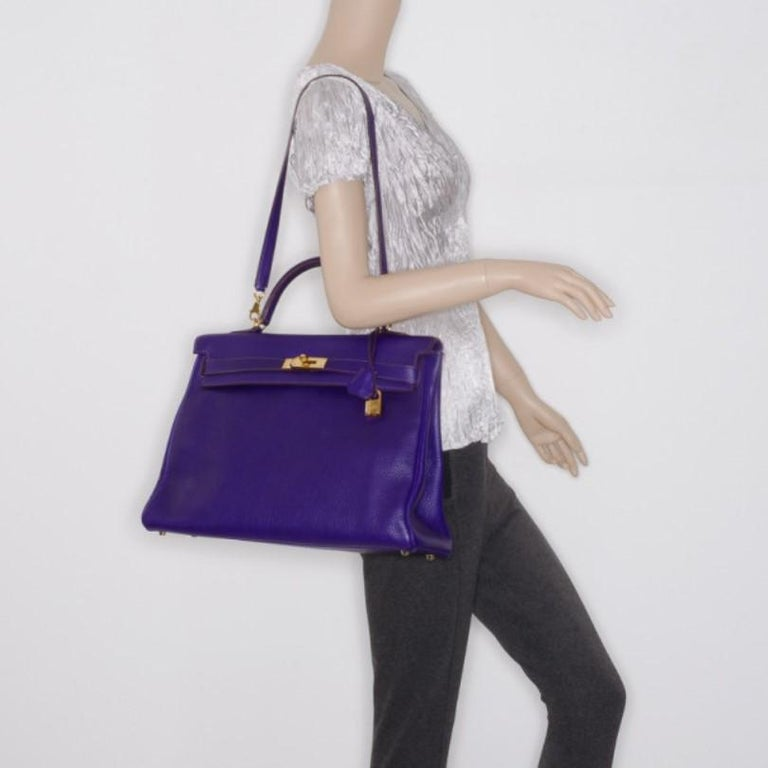 Purple Hermes Iris Togo Leather Gold Hardware Kelly Retourne 40 Bag For Sale