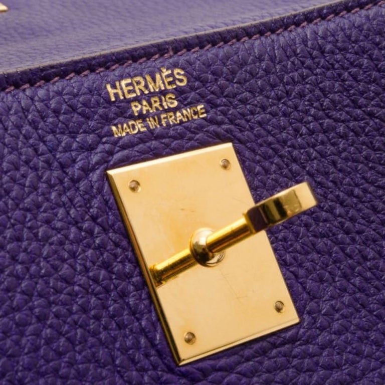 Women's Hermes Iris Togo Leather Gold Hardware Kelly Retourne 40 Bag For Sale