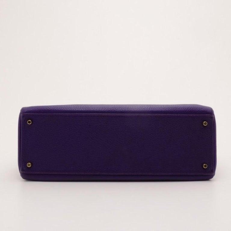 Women's Hermes Iris Togo Leather Gold Hardware Kelly Retourne 40 Bag For Sale