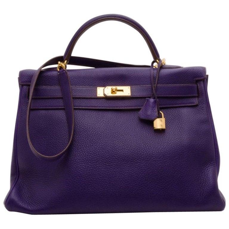 Hermes Iris Togo Leather Gold Hardware Kelly Retourne 40 Bag For Sale