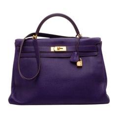 Hermes Iris Togo Leather Gold Hardware Kelly Retourne 40 Bag