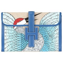 Hermes Ivory and Blue Jige Clutch Customised With Bird