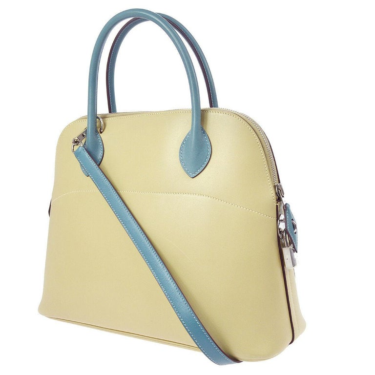 Hermes Ivory Cream Blue Leather Top Handle Satchel Shoulder Tote Bag in Box In Good Condition For Sale In Chicago, IL