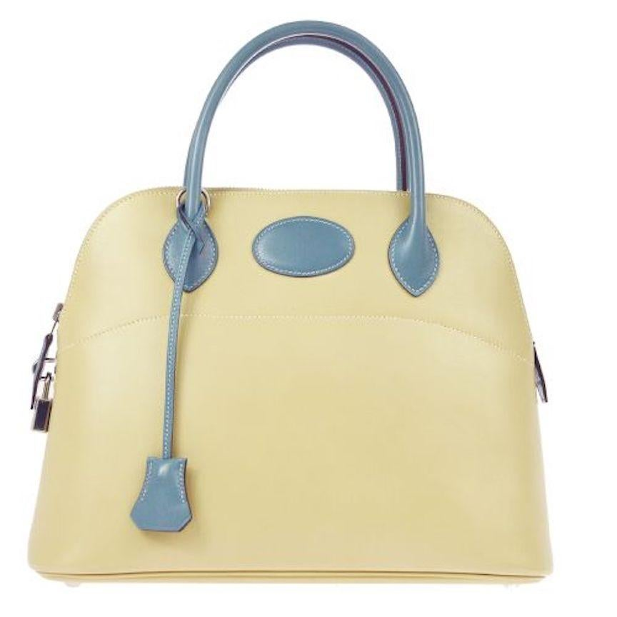Hermes Ivory Cream Blue Leather Top Handle Satchel Shoulder Tote Bag in Box