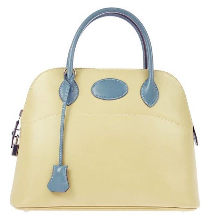Hermes Ivory Cream Blue Leather Top Handle Satchel Shoulder Tote Bag in Box For Sale