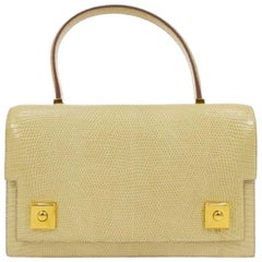 Hermes Ivory Exotic Lizard Gold Evening Kelly Style Top Handle Satchel Bag
