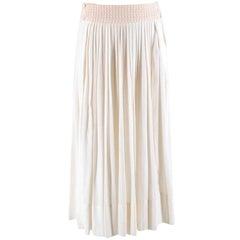 Hermes ivory pleated cotton midi skirt XS 36