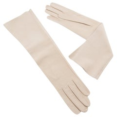 Hermes Ivory Suede Leather Long Gloves Size 6.5