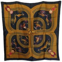 "HERMÈS J Abadies design ""Voitures Paniers"" Equestrian Driving Print Silk Scarf"