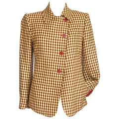 Hermes Jacket Cashmere / Wool Plaid Rouge and Jaune 36 / 4