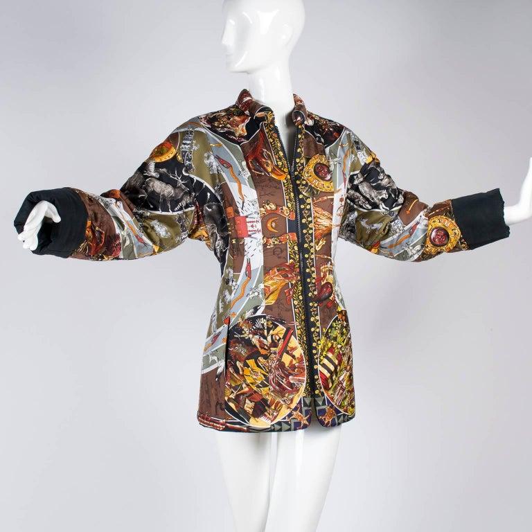 Brown Hermes Jacket in Les Mythologies des Hommes Rouges Scarf Print Reversible Coat M For Sale