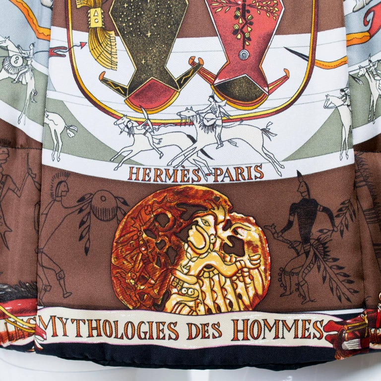 Hermes Jacket in Les Mythologies des Hommes Rouges Scarf Print Reversible Coat M In Excellent Condition For Sale In Portland, OR
