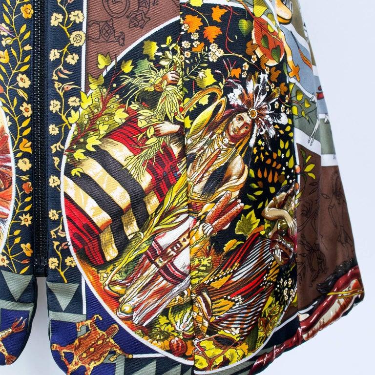 Hermes Jacket in Les Mythologies des Hommes Rouges Scarf Print Reversible Coat M For Sale 3