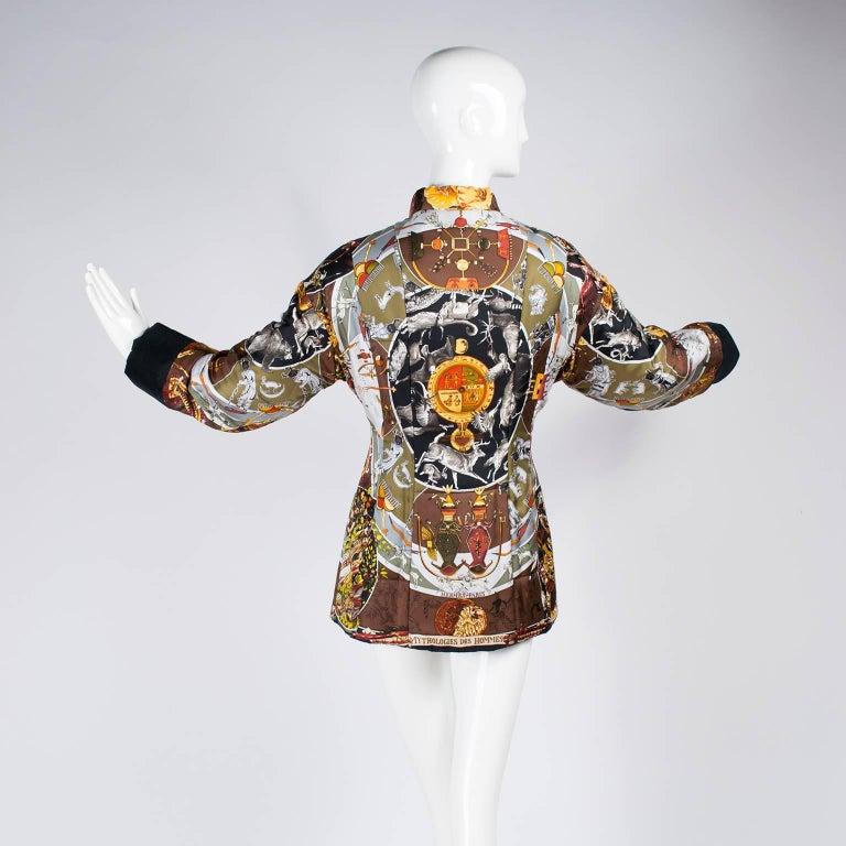 Hermes Jacket in Les Mythologies des Hommes Rouges Scarf Print Reversible Coat M For Sale 4