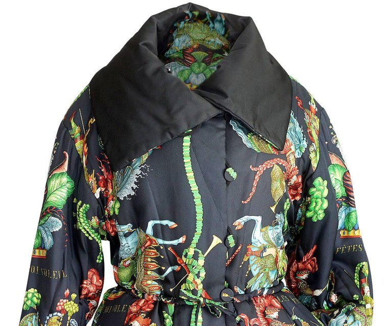 Black Hermes Jacket Remarkable Vintage Les Fetes Du Roi Soleil Reversible 38  For Sale
