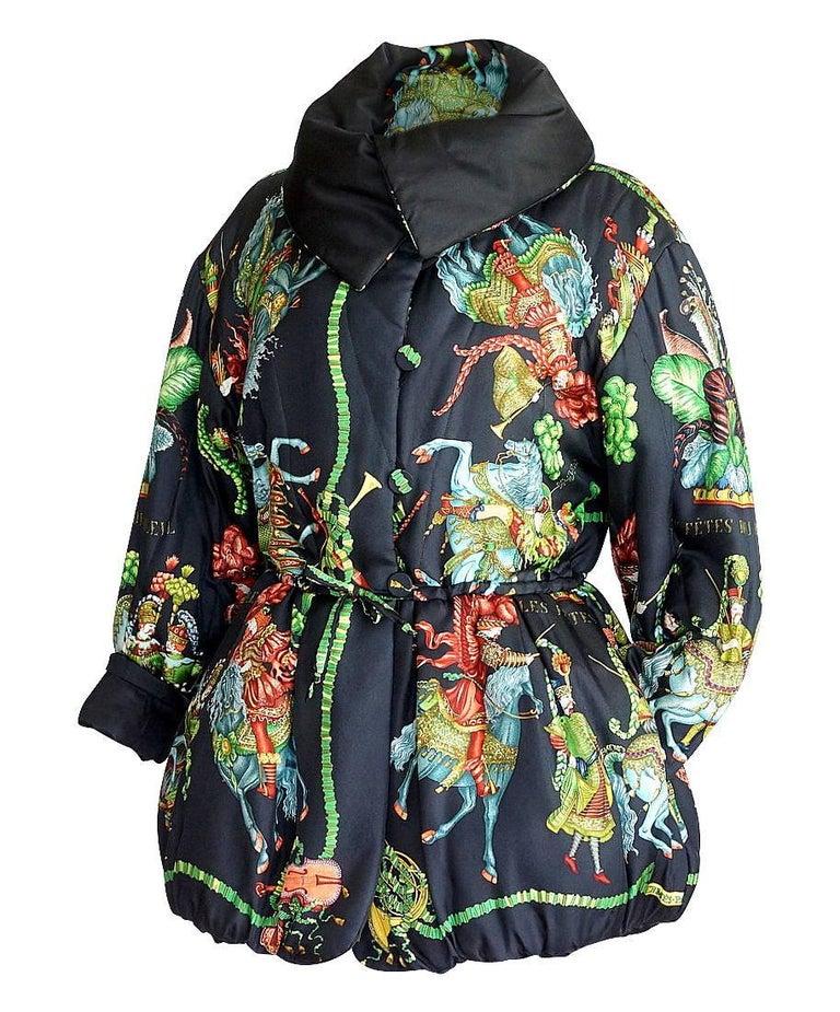 Hermes Jacket Remarkable Vintage Les Fetes Du Roi Soleil Reversible 38  For Sale 1