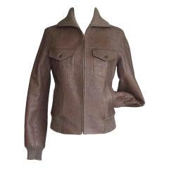 Hermes Jacket Taupe Bison Leather Bomber 38 / 4
