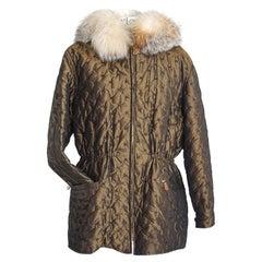 Hermes Jacket Vintage Iridescent Quilted Parka Lush Fox Hoodie Trim 6