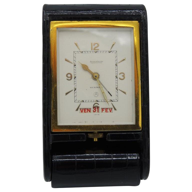 Hermès Jaeger LeCoultre Ados Travel Clock Triple Date 8 Days Crocodile RARE