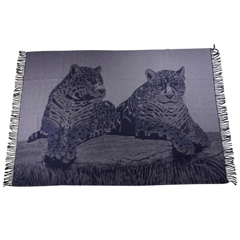 Hermes Jaguars Du Bresil Blanket Bleu Cashmere New w/ Box For Sale 6