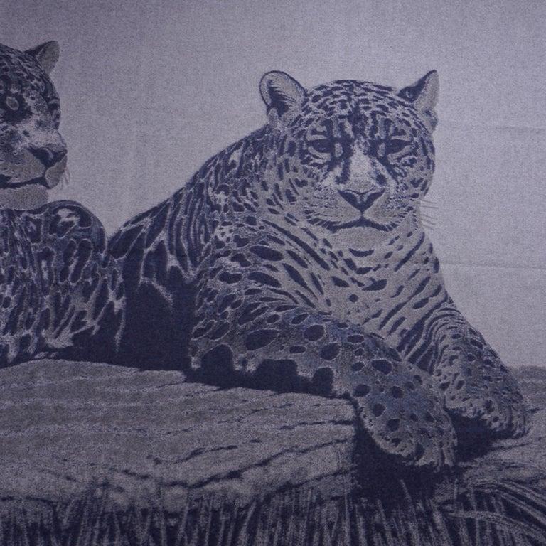 Hermes Jaguars Du Bresil Blanket Bleu Cashmere New w/ Box For Sale 8