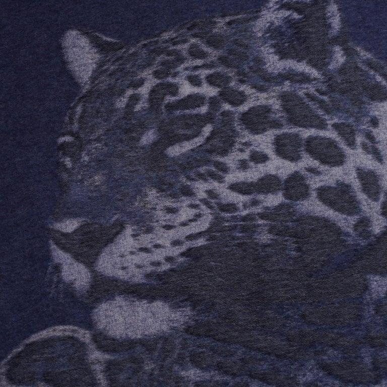 Black Hermes Jaguars Du Bresil Blanket Bleu Cashmere New w/ Box For Sale