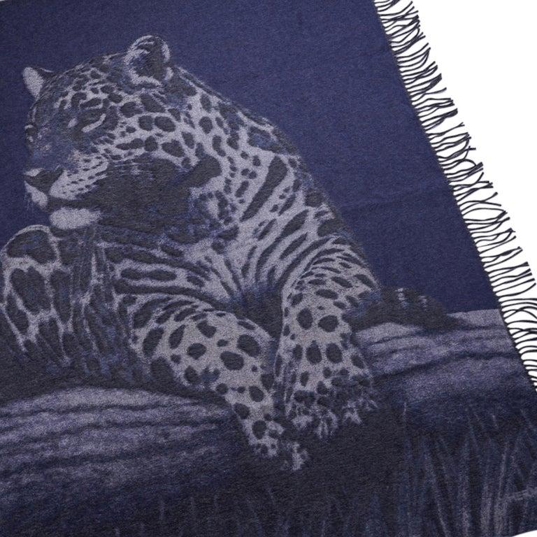 Women's or Men's Hermes Jaguars Du Bresil Blanket Bleu Cashmere New w/ Box For Sale