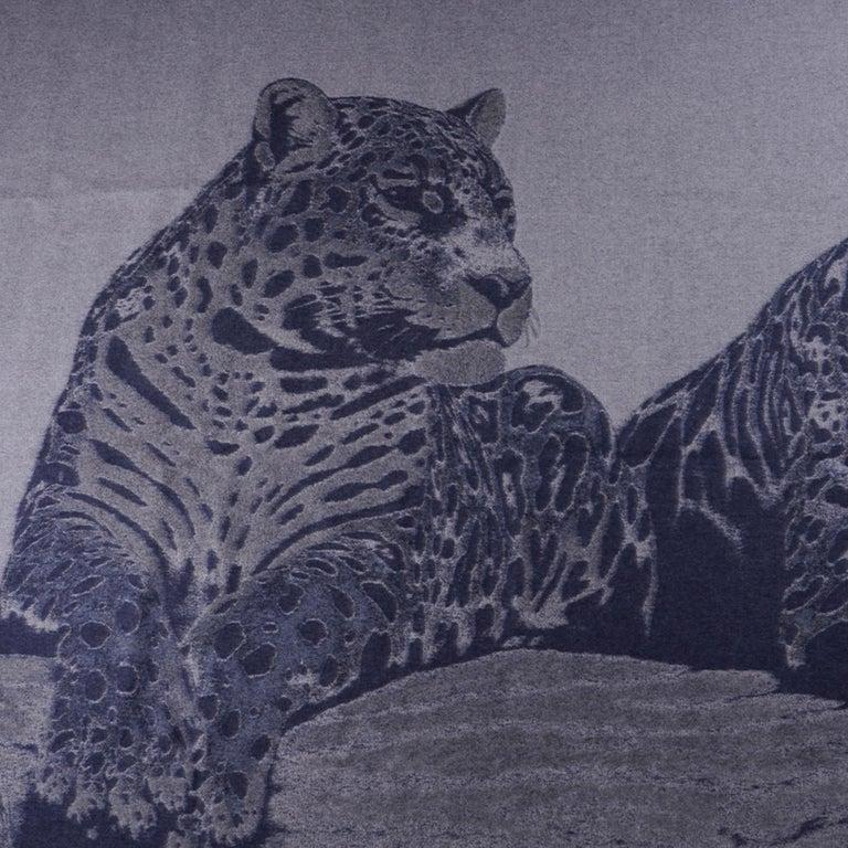 Hermes Jaguars Du Bresil Blanket Bleu Cashmere New w/ Box For Sale 1