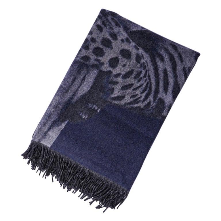 Hermes Jaguars Du Bresil Blanket Bleu Cashmere New w/ Box For Sale 3