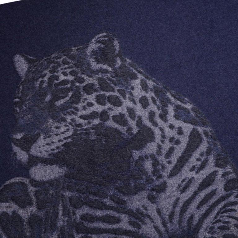 Hermes Jaguars Du Bresil Blanket Bleu Cashmere New w/ Box For Sale 4
