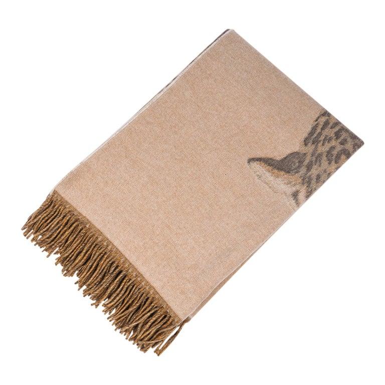 Hermes Jaguars Du Bresil Blanket Naturel Cashmere New w/ Box For Sale 5