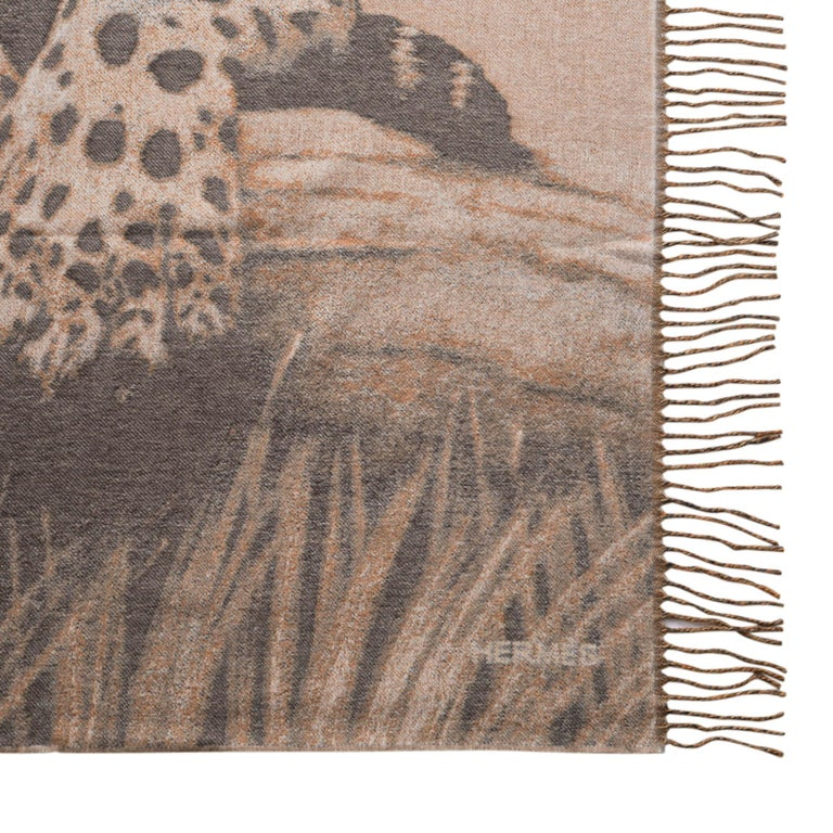 Hermes Jaguars Du Bresil Blanket Naturel Cashmere New w/ Box For Sale 6
